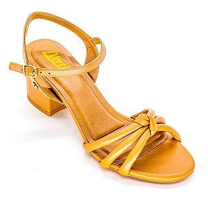 Sandalia de Tira com Salto Grosso Camel
