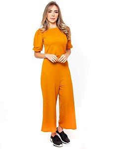 Conjunto Calça e Blusa Feminino Mostarda