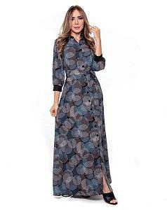 Vestido Chemise Longo Azul
