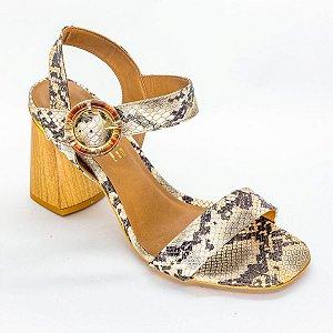 Sandalia com Salto Grosso de Madeira Snake Ouro