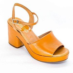 Sandalia Salto Grosso Meia Pata Terracota