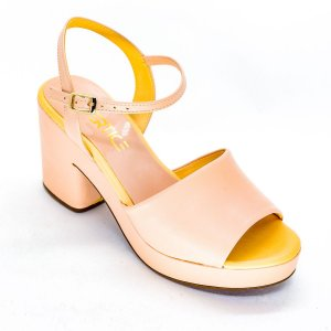 Sandalia Salto Grosso Meia Pata Rose