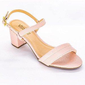 Sandalia de Tira com Salto Grosso Rose