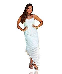 Vestido Longo Listrado Branco