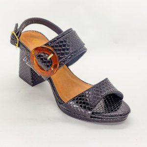 Sandalia de Salto Grosso Quadrado Preto