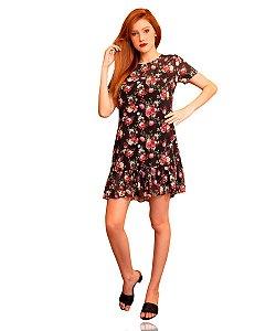 Vestido Estampado Floral Curto Preto
