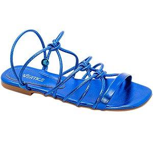 Sandalia Rasteira Metalizada Azul