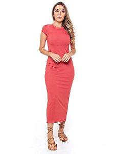 Vestido Midi Canelado Rose