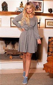 Vestido Cinza Claro Curto Manga Longa