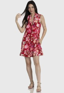 Vestido Blazer Alfaiataria Floral Vermelho