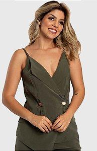 Blusa Blazer Feminina com Botões Verde