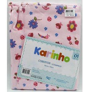 Cobertor karinho Papi algodão - florzinha rosa