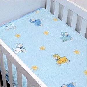 Cobertor Pelo Alto Jolitex Carneirinhos - azul