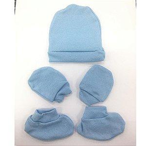 Kit luva, meia e touca Bebeninho - azul