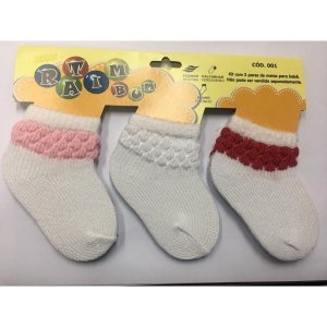 Kit 3 pares de meias Ratimbum - Rosa, branca e vermelha