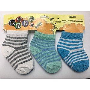 Kit 3 pares de meias Ratimbum - branco, verde e azul