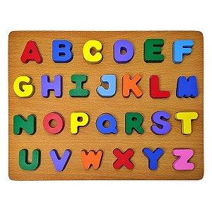 Aprenda Brincando Didático Dm Toys - Cores e alfabeto em madeira