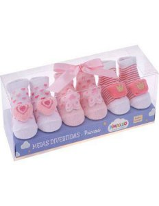 Kit meias divertidas Pimpolho 3 pares recém nascido - princesas