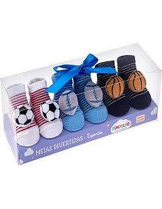 Kit meias divertidas Pimpolho 3 pares recém nascido - esportes