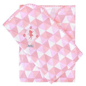 Cobertor infantil Minasrey Muito Mimo bordado - rosa