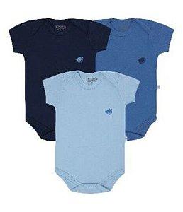 Kit body Pimpolho manga curta 3 peças - azul