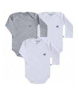 Kit body Pimpolho manga longa 3 peças - branco/cinza