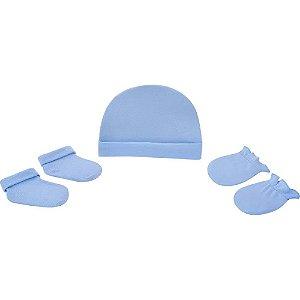 Kit gorro luva e meia Pimpolho de 0 a 3 meses - azul