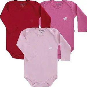 Kit body Pimpolho manga longa 3 peças - rosa vermelho
