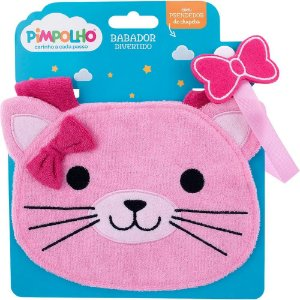 Babador divertido Pimpolho com prendedor - gatinha rosa