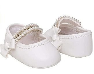 Sapato infantil Pimpolho feminino velcro e pérolas tamanho 2 - branco
