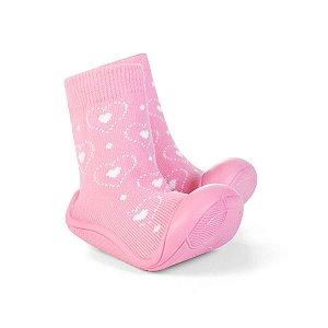 Meia Pimpolho Cano Médio com solado - coração rosa
