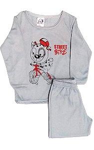 Pijama Jucatel infantil flanelado - cinza