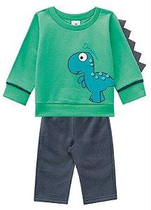Conjunto Brandili Moletom masculino Dinossauro - verde