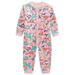 Pijama Macacão Brandili Moletom feminino - dino rosa