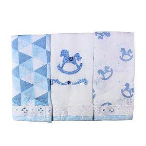 Kit Babete Minasrey Muito Mimo fralda - azul