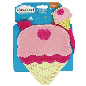 Babador divertido Pimpolho com prendedor -  sorvete rosa