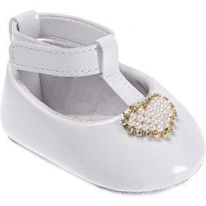 Sapato infantil Pimpolho com coração de pérolas - branco
