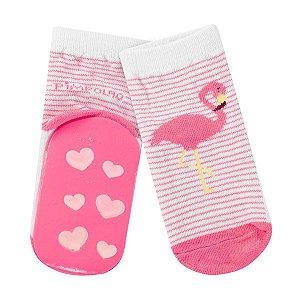 Meia Pimpolho com solado antiderrapante - flamingo rosa