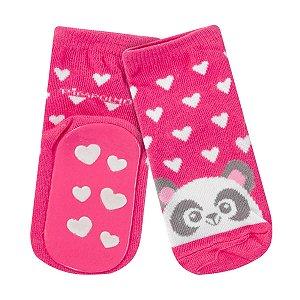 Meia Pimpolho com solado antiderrapante - panda rosa