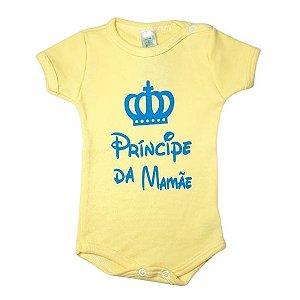 Body Linea Baby Manga Curta masculino - príncipe da mamãe amarelo