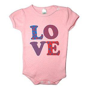 Body Linea Baby Manga Curta feminino - love rosa