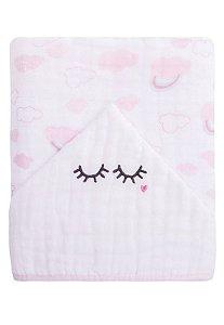 Toalha de banho Papi Soft forrada - cílios branco e rosa