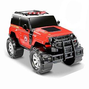 Carro Roma Brinquedos Render Force Rescue bombeiro - vermelho