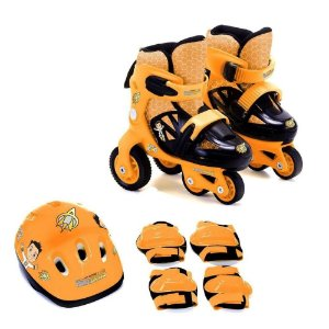 Kit Patins Unik Toys ajustável masculino - laranja