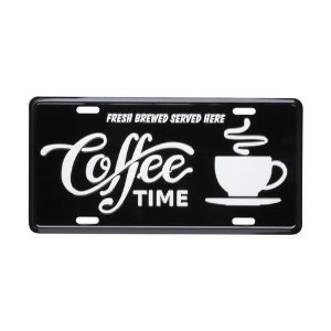 Placa de carro decorativa Coffee Time