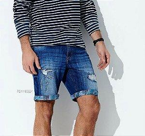 Bermuda Jeans Rasgado Masculino Acostamento Azul