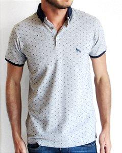 Camisa Polo Acostamento Masculina Cinza Piquet Poá
