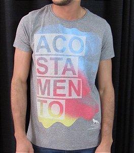Camiseta Acostamento Masculina Cinza com Estampa