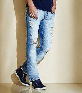 Calça Jeans Rasgada Masculina Acostamento Destroyed