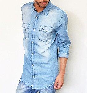 Camisa Acostamento Masculina Jeans com Bolsos